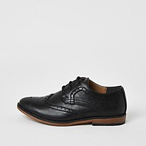 Zwarte brogue schoenen met reliëf voor jongens