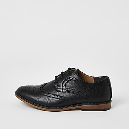Boys black embossed brogues