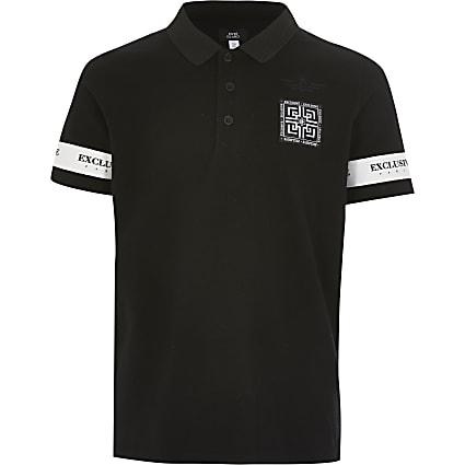 Boys black 'Exclusive' tape polo shirt