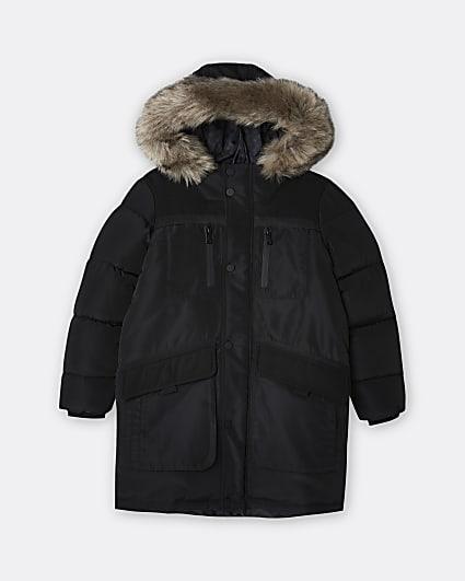 Boys black faux fur hooded parka coat