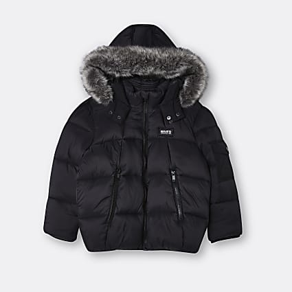 Boys black faux fur hooded puffer coat