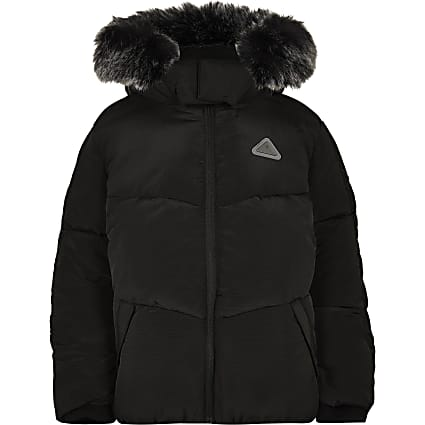 Boys black faux fur padded coat