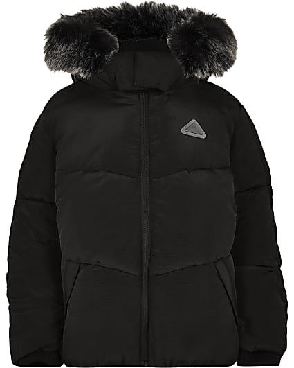Boys black faux fur padded coat