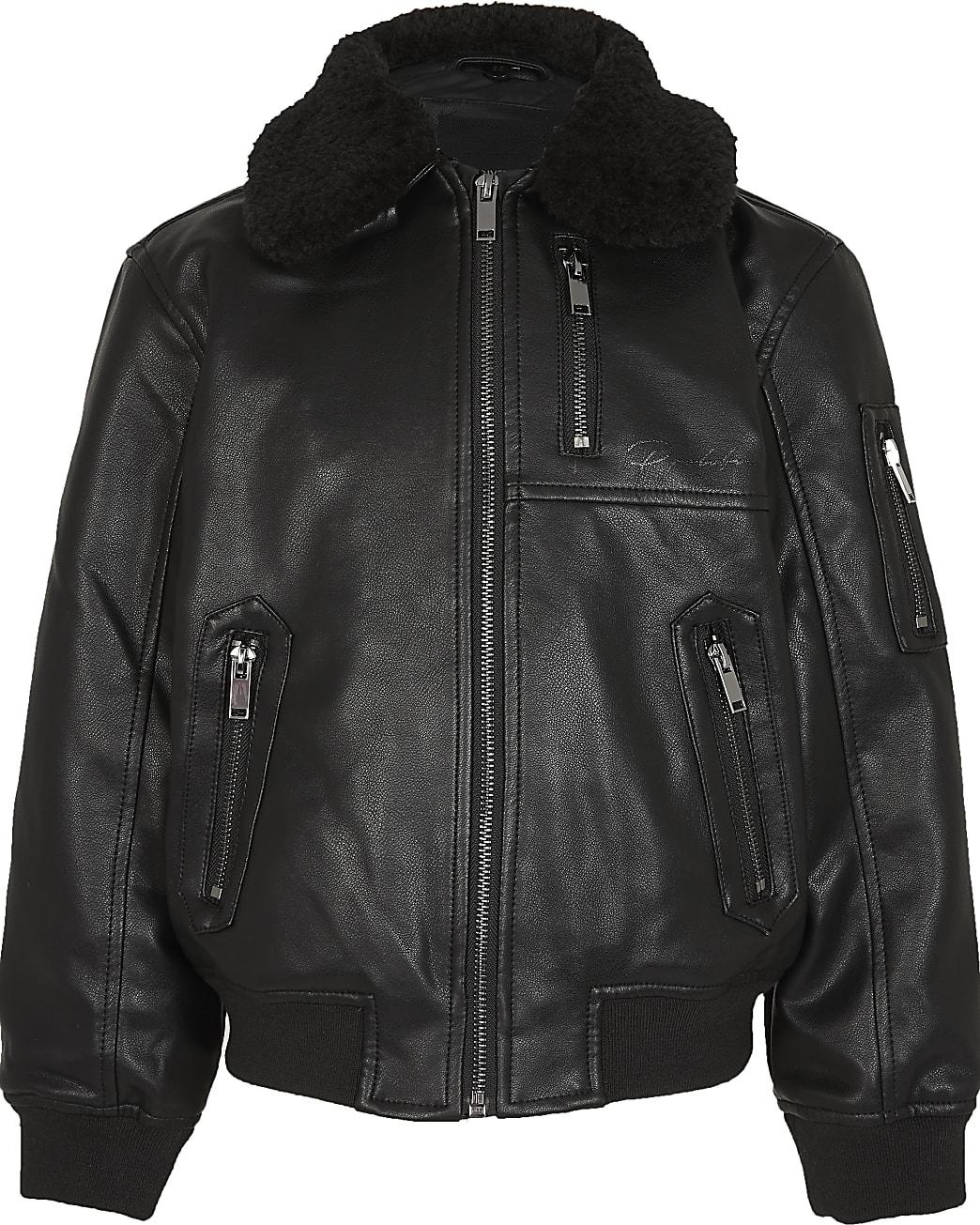Boys black faux leather bomber jacket