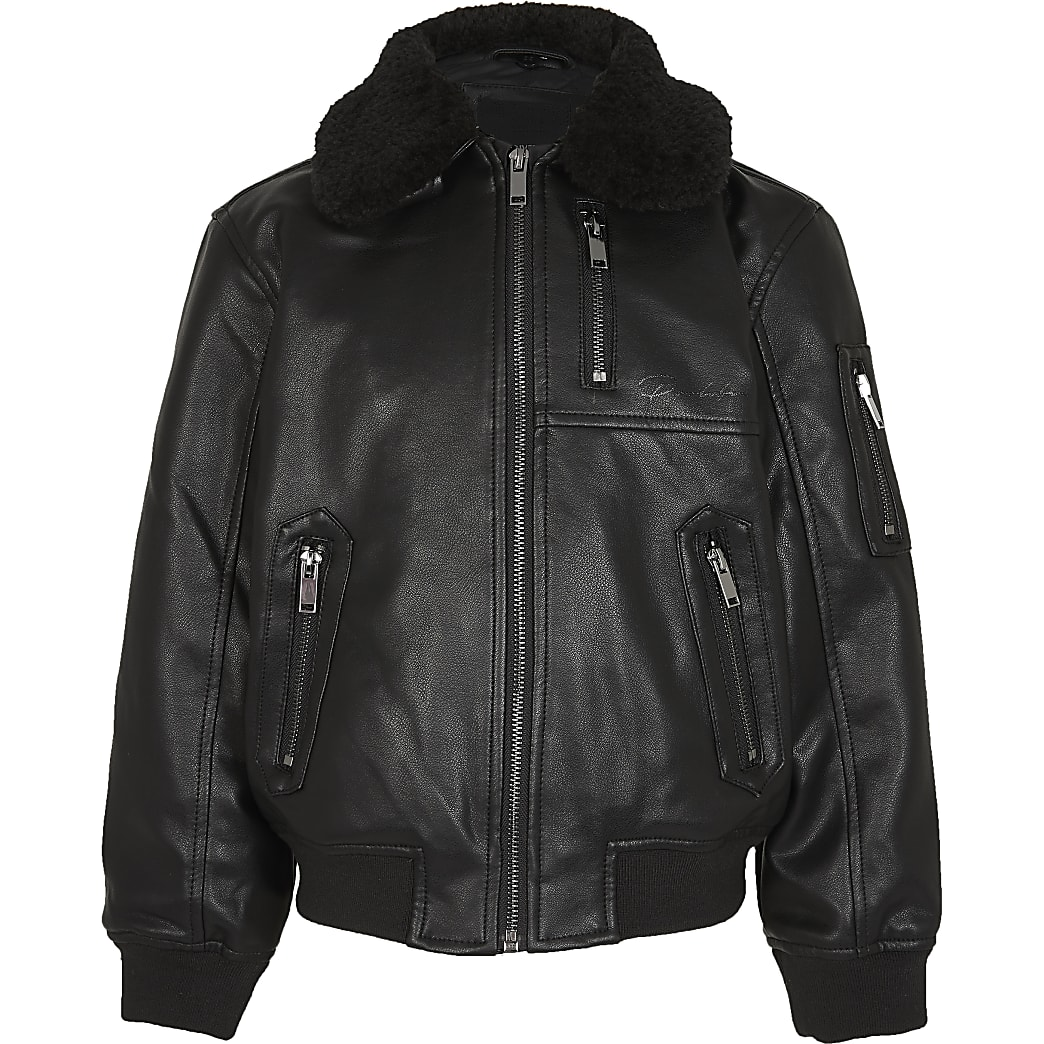 Boys black faux leather bomber jacket