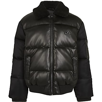 Boys black faux leather padded bomber jacket