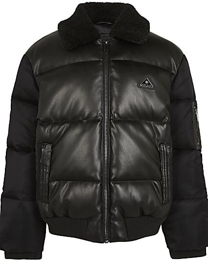 Boys black faux leather padded bomber jacket