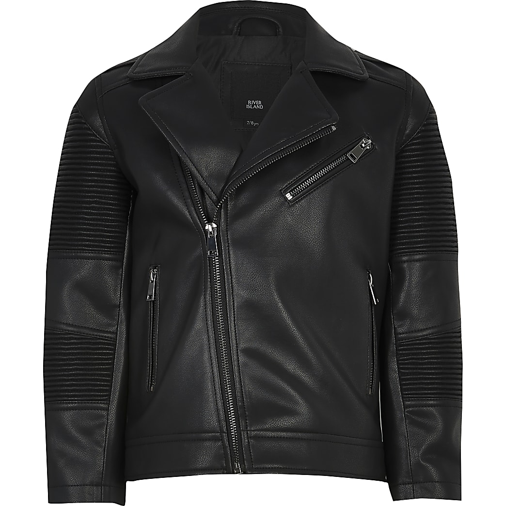 Boys black faux leather ridged biker jacket