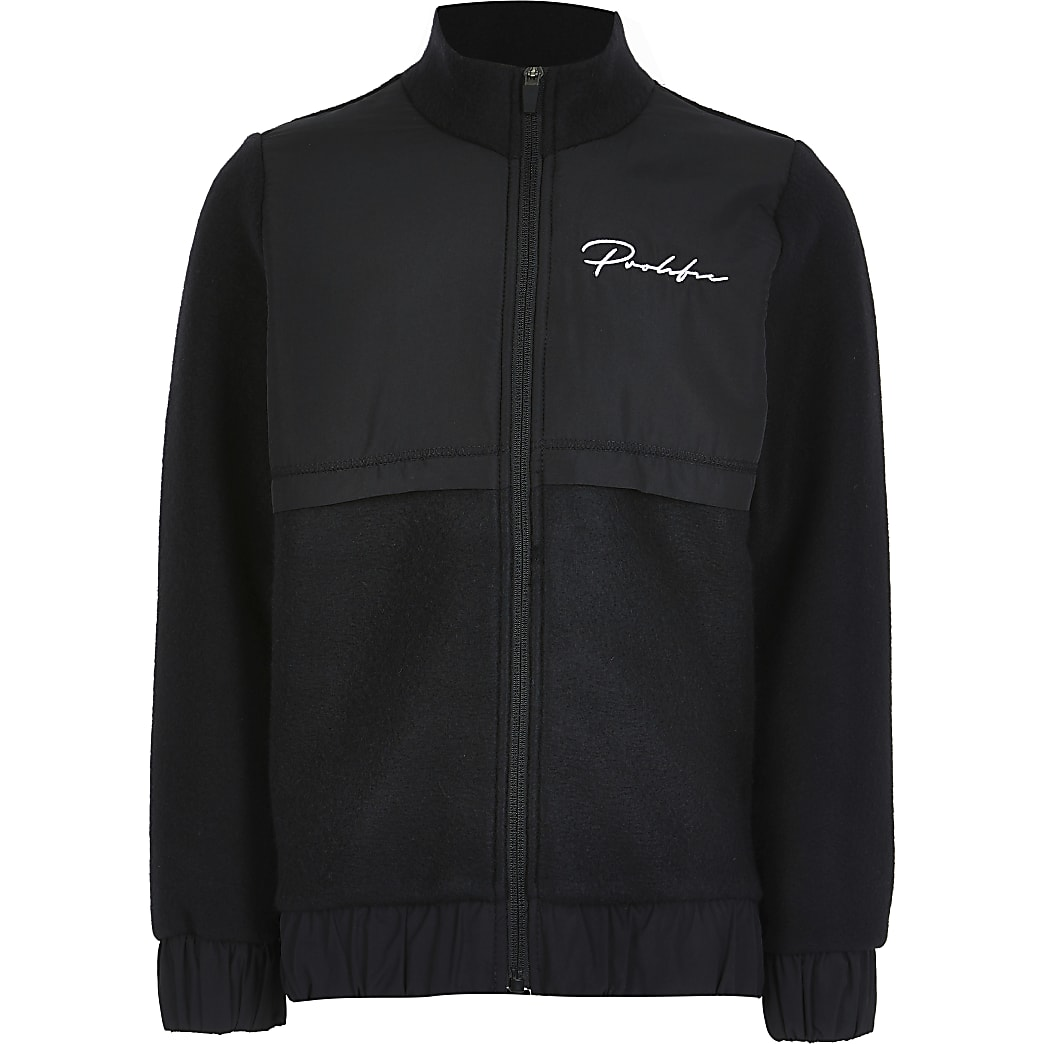 Boys black fleece Prolific zip through jacket