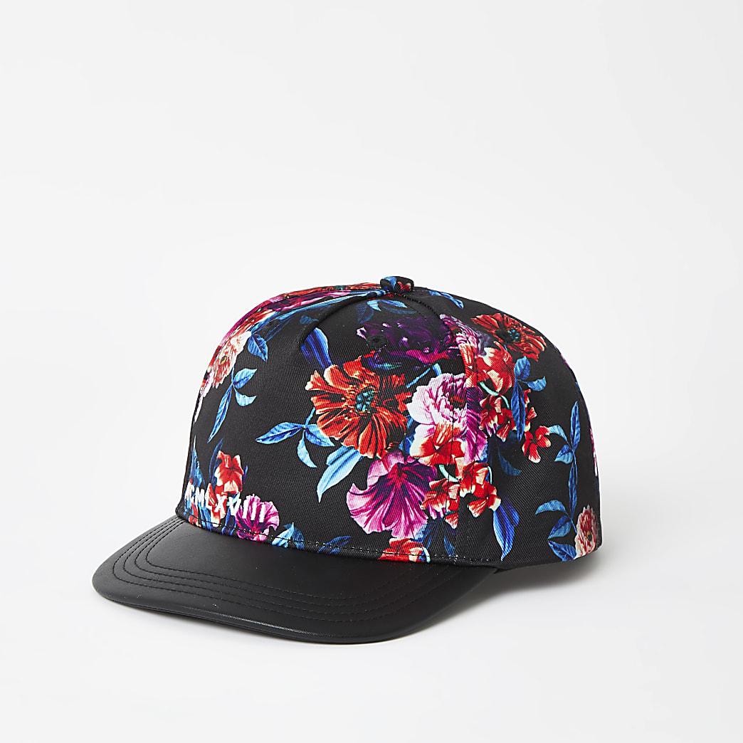Boys black floral flat peak cap