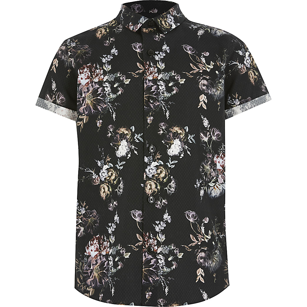Boys black floral short sleeve shirt