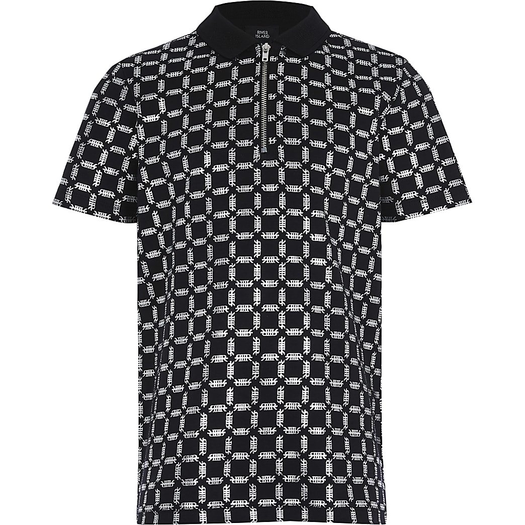 Boys black foil printed polo shirt