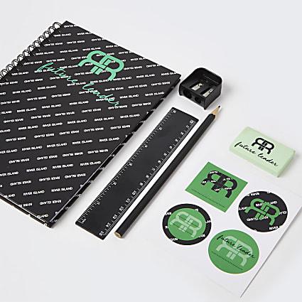 Boys black 'Future Leader' stationery set