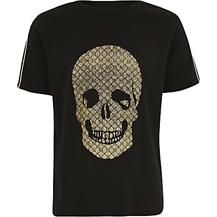 Boys black gold tone foil skull t-shirt