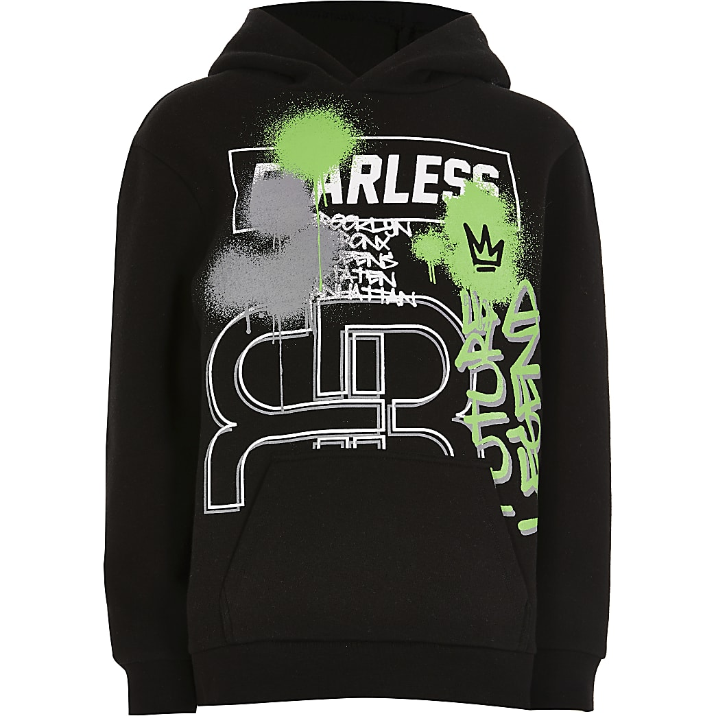 Boys black graffiti print hoodie