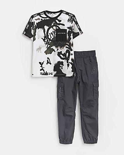 Boys black graffiti t-shirt and chinos outfit