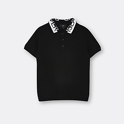 Boys black half and half collar polo