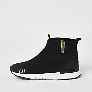 Schwarze, hohe Strick-Sneaker für Jungen