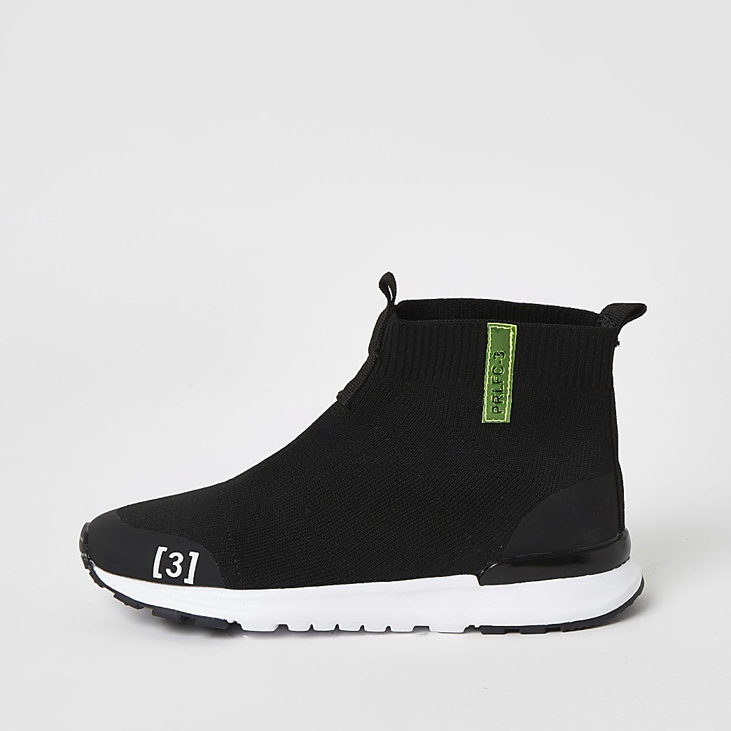 Boys black high top knitted trainers