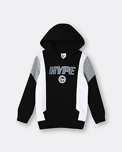 Boys black Hype Black colour block hoodie