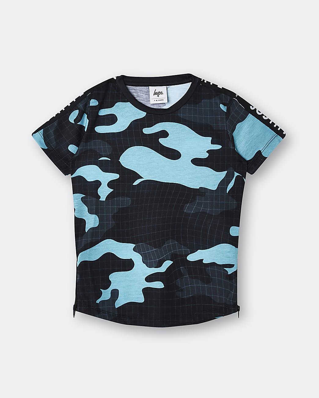 Boys black Hype camo print t-shirt