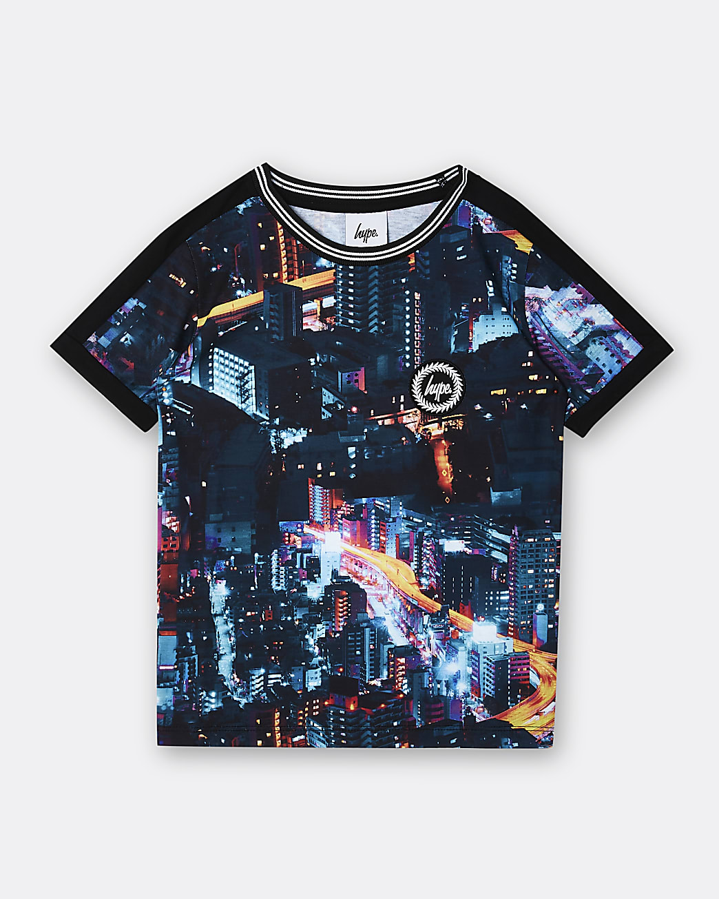 Boys black Hype city print t-shirt