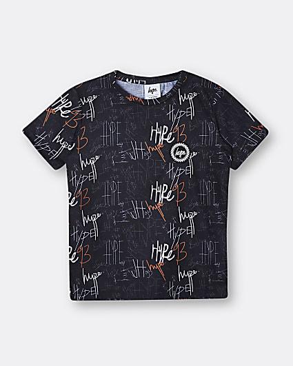 Boys black Hype graffiti print t-shirt