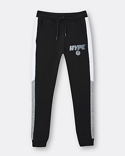 Boys black Hype joggers