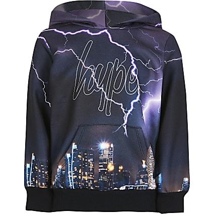 Boys black Hype skyline print hoodie