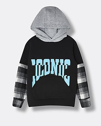 Boys black 'Iconic' check print hoodie