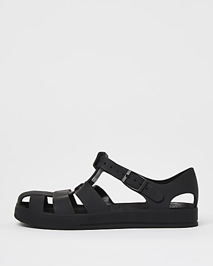 Boys black jelly caged sandals