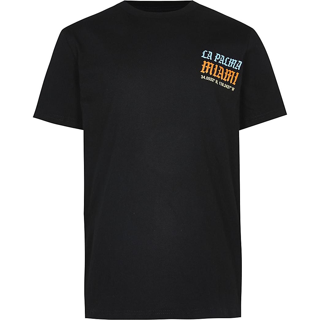 Boys black 'La Palma Miami' print t-shirt