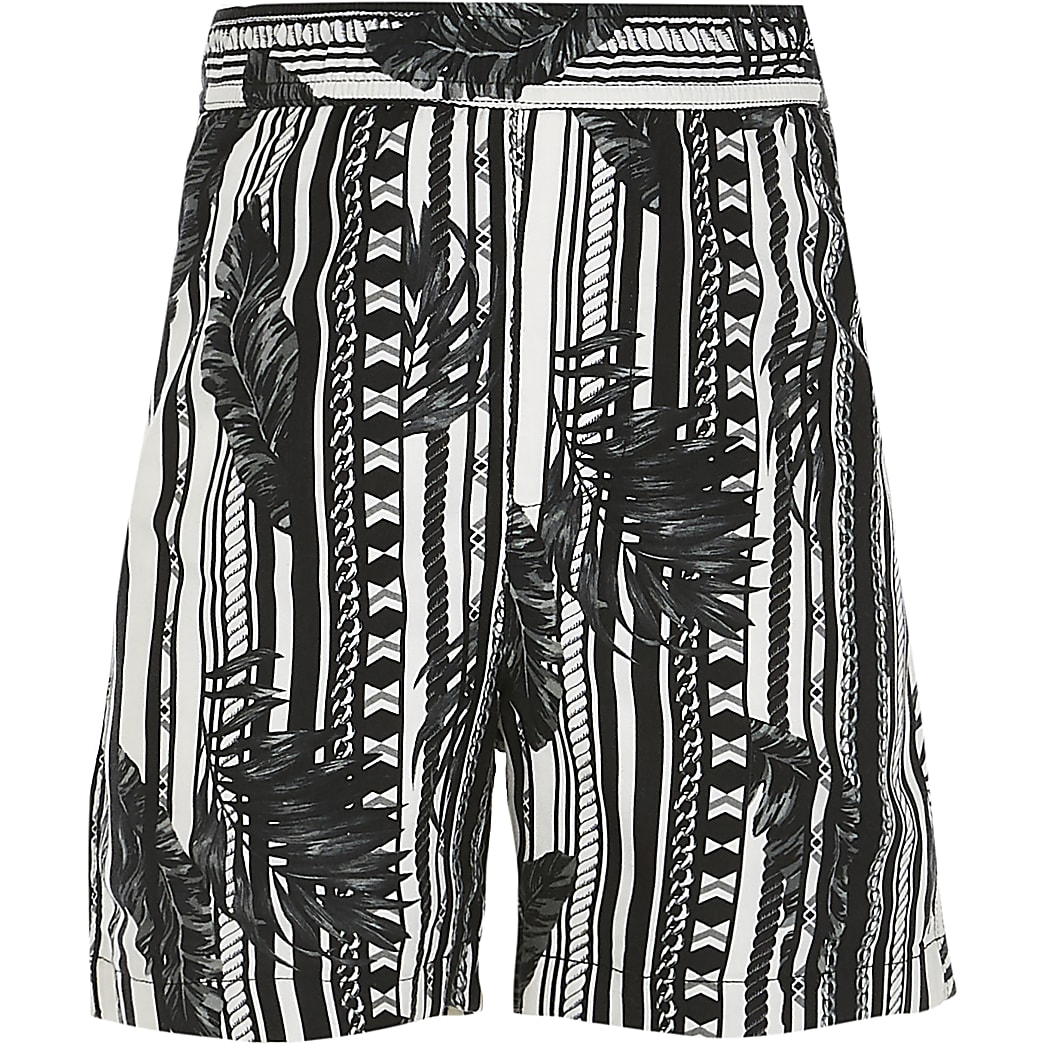 Boys black leaf print shorts