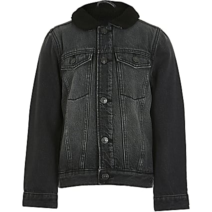 Boys black lined denim jacket