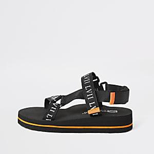Zwarte sandalen met klittenband en 'LVII'-print voor jongens