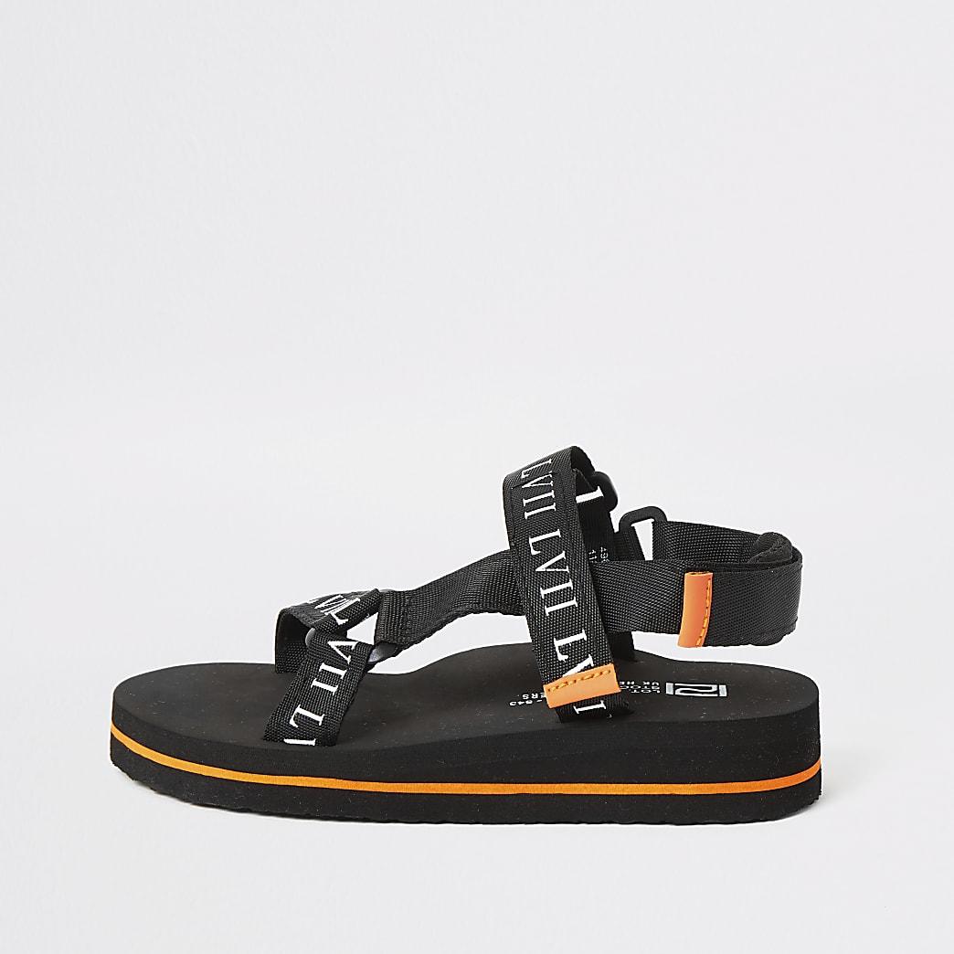 Boys black 'LVII' velcro sandals