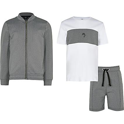 Boys black Maison Riviera 3 piece outfit