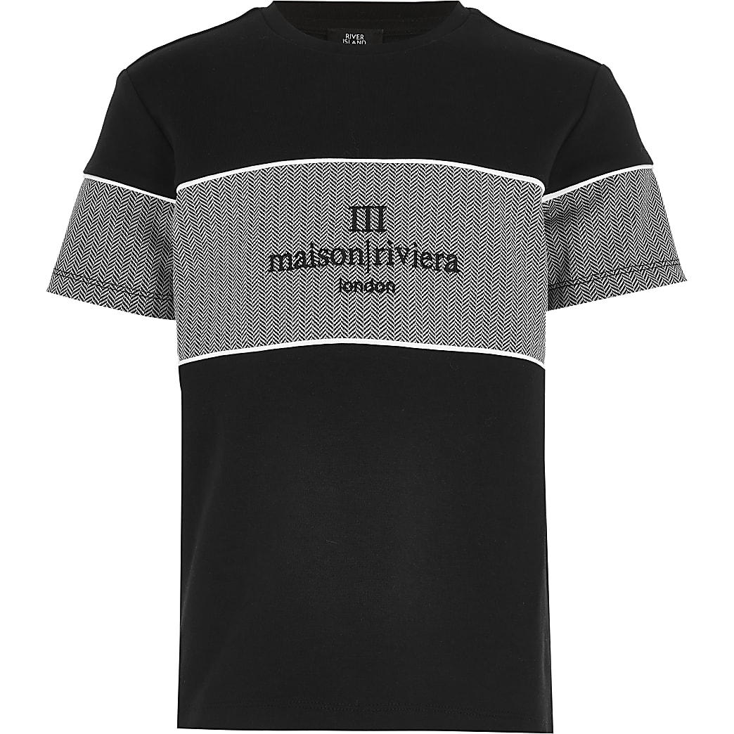 Boys black Maison Riviera block print t-shirt