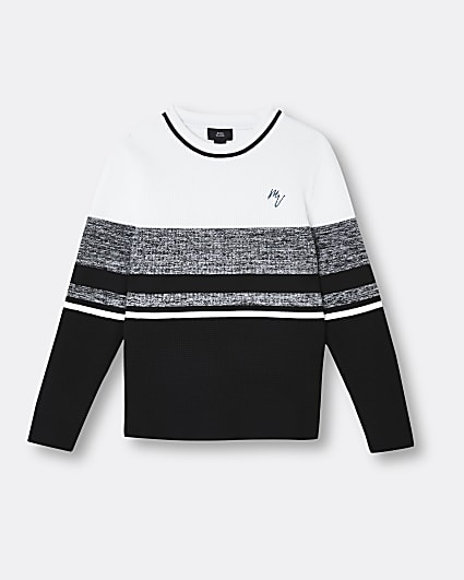 Boys black Maison Riviera colour block jumper