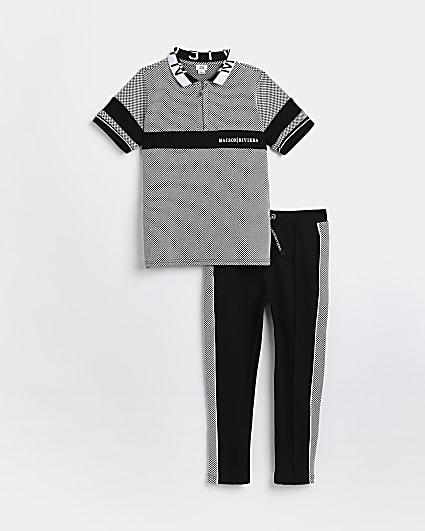 Boys black Maison Riviera polo shirt outfit