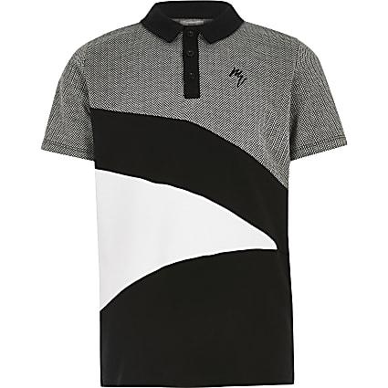 Boys black Maison Riviera polo shirt