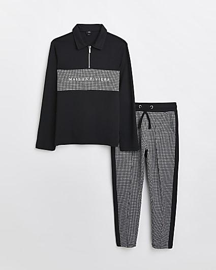Boys black Maison Riviera polo top outfit