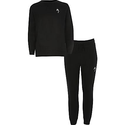 Boys black Maison Riviera sweatshirt outfit