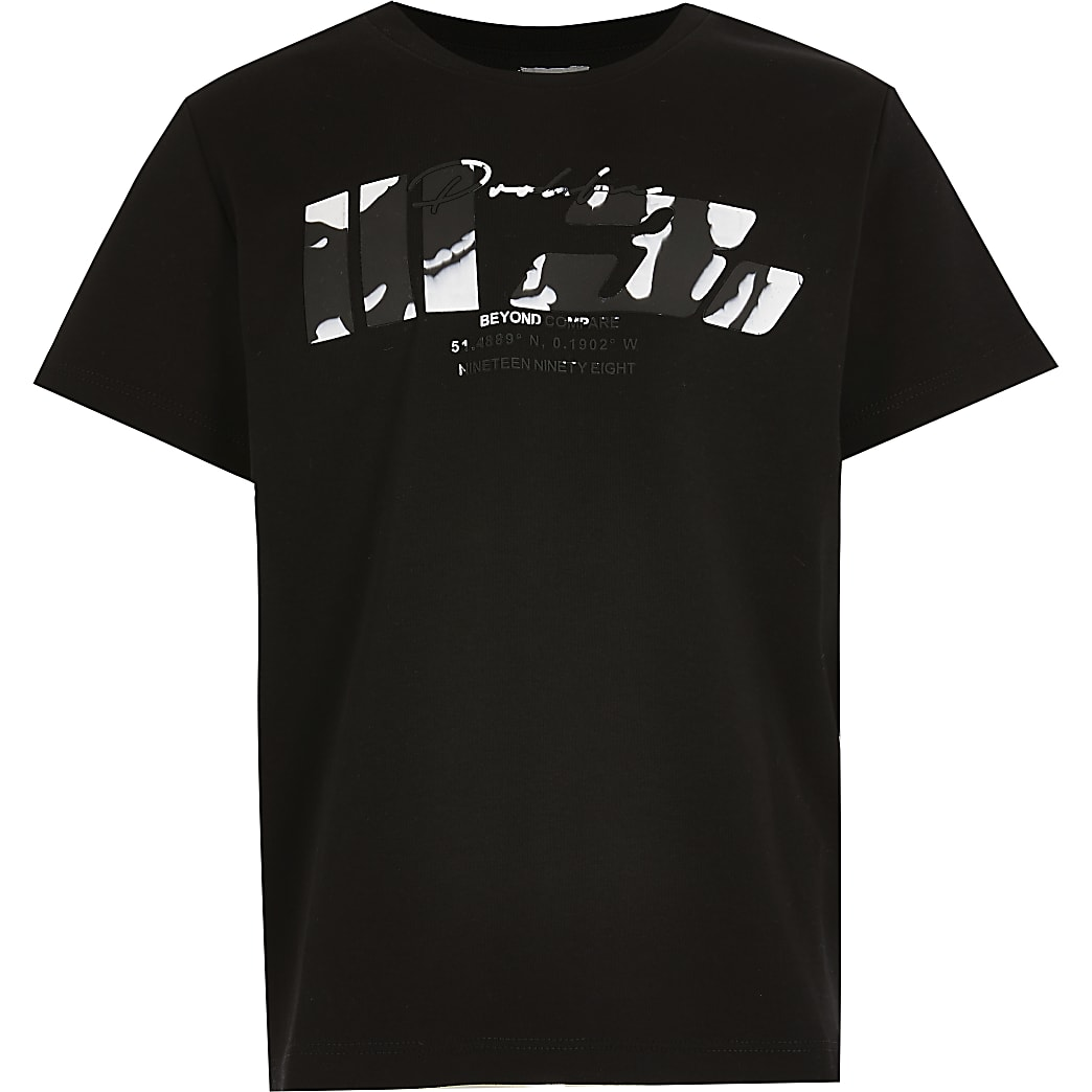 Boys black marble prolific t-shirt