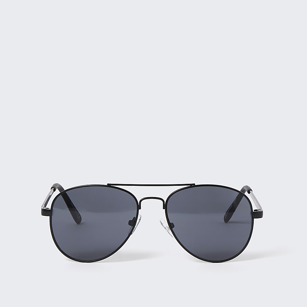 Boys black matte aviator sunglasses