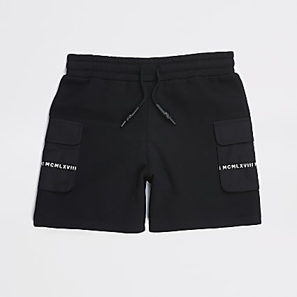 Boys black MCMLX utility shorts