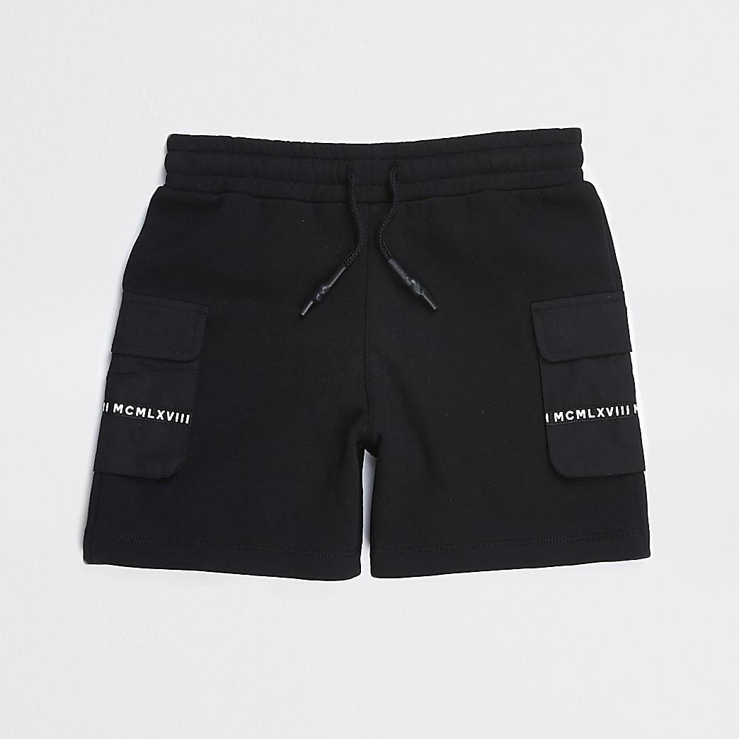 Boys black MCMLX utility shorts