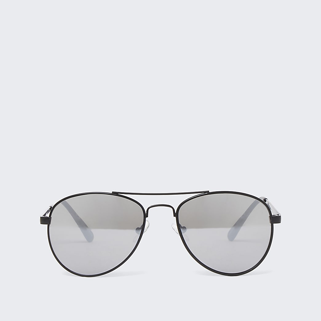 Boys black mirror aviator sunglasses