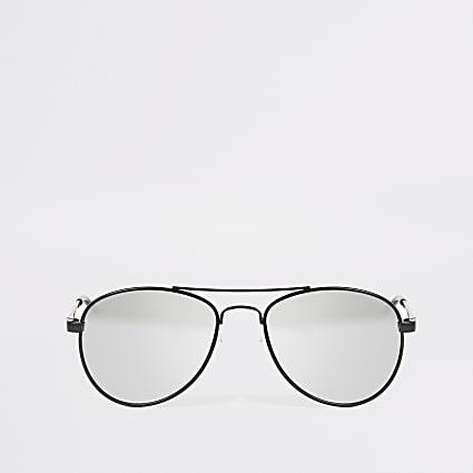 Boys black mirror lens aviator sunglasses