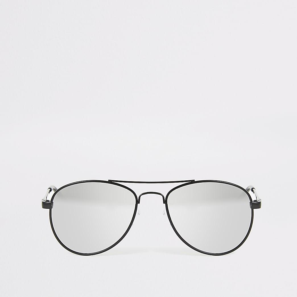 Zwarte pilotenzonnebril met spiegelglazen voor jongens
